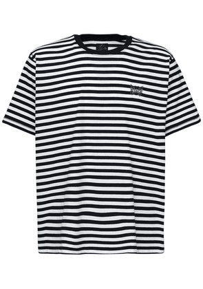 Logo Embroidered Striped Jersey T-shirt