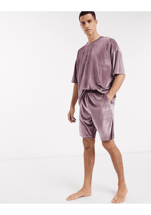 ASOS DESIGN pyjama short and oversized tshirt set in purple velour-Red