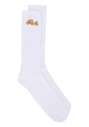Palm Angels teddy-embroidered mid-calf socks - White