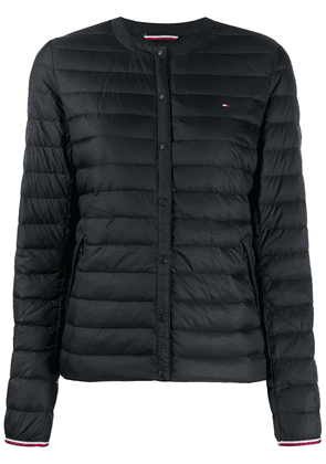 Tommy Hilfiger embroidered logo puffer jacket - Black