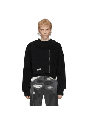 Heliot Emil Black Deconstructed Knit Sweater