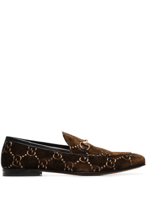 Gucci GG jordan velvet loafers - Brown