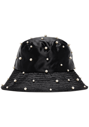 Jennifer Behr Mallorie pearl-embellished bucket hat - Black