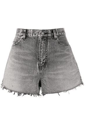 Saint Laurent high waisted denim shorts - Grey