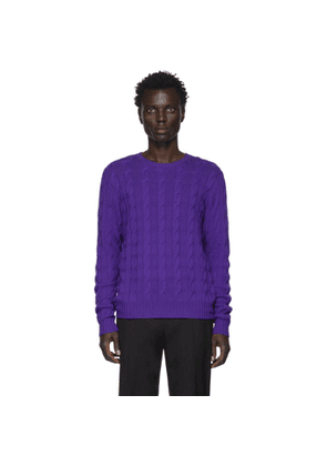 Ralph Lauren Purple Label Purple Cashmere Cable-Knit Sweater