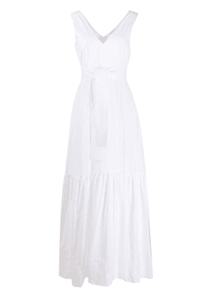 P.A.R.O.S.H. flared tie-waist maxi dress - White