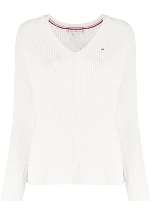 Tommy Hilfiger embroidered logo jumper - White