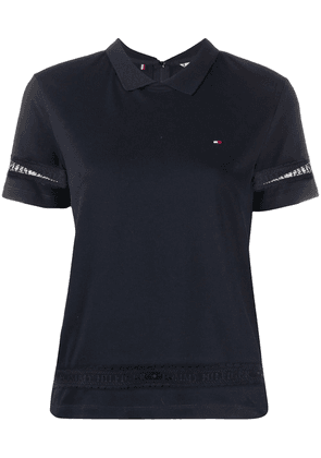 Tommy Hilfiger lace-detail polo shirt - Blue