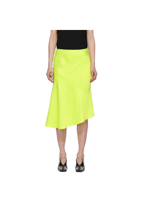 Helmut Lang Yellow Double Satin Asymmetric Skirt