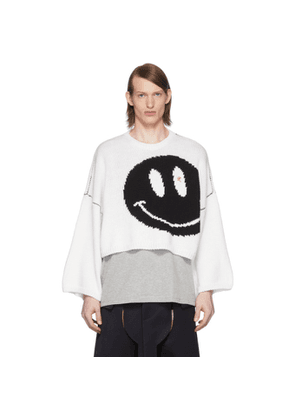 Raf Simons White Wool Smiley Sweater