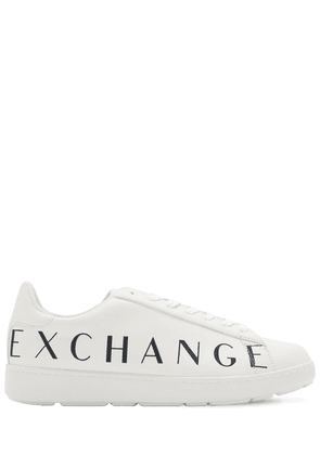 Faux Leather Logo Sneakers