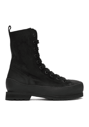 Ann Demeulemeester Black Greased Suede Boots