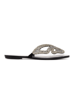 Sophia Webster Black and Silver Madame Butterfly Crystal Sandals
