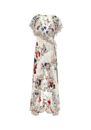Embellished floral silk wrap dress