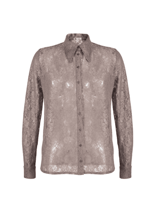 MUZA - Slim Fit Floral Lace Shirt