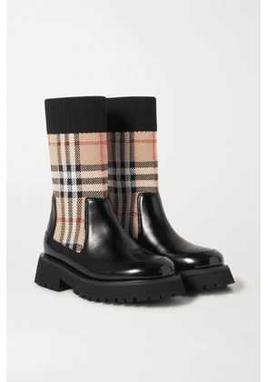 Burberry Kids - Ages 4 - 11 Checked Stretch-knit And Glossed-leather Boots