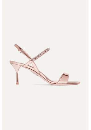 Miu Miu - Crystal-embellished Metallic Patent-leather Slingback Sandals - Bronze