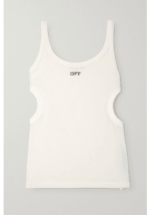 Off-White - Cutout Printed Ribbed Jersey Tank - IT46