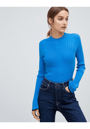 HUGO ribbed knitted top-Blue