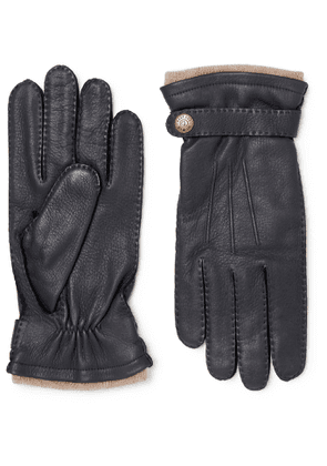 Dents - Gloucester Cashmere-Lined Full-Grain Leather Gloves - Men - Blue