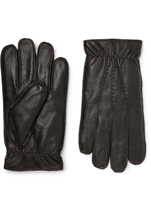 Dents - Faux Fur-Lined Leather Gloves - Men - Black