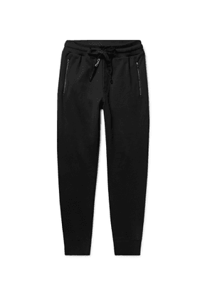 Dolce & Gabbana - Slim-Fit Tapered Logo-Embroidered Loopback Cotton-Jersey Sweatpants - Men - Black
