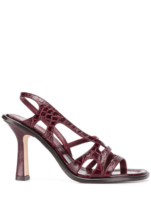 Sies Marjan embossed crocodile effect sandals - Red