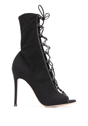 Gianvito Rossi open toe lace-up boots - Black