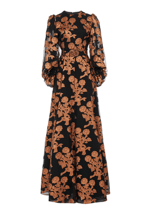 Andrew Gn Floral Fil Coupé Silk Organza Gown