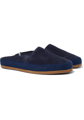 Mulo - Hamilton and Hare Shearling-Lined Suede Backless Slippers - Men - Blue