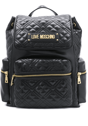 Love Moschino quilted-effect logo backpack - Black