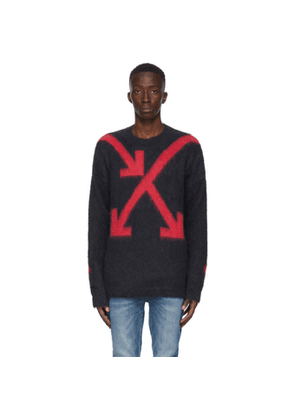 Off-White Grey and Red Intarsia Arrows Sweater