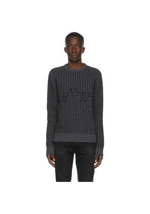 Off-White Grey Intarsia Knit Sweater