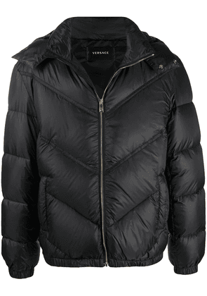 Versace hooded puffer jacket - Black