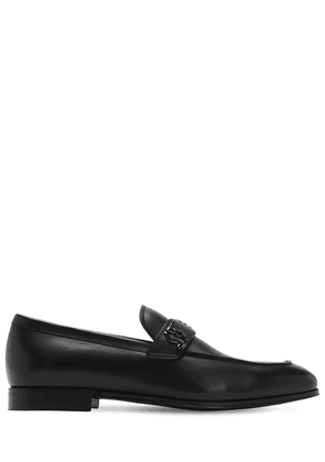 Riben Metal Logo Leather Loafers