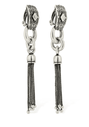 Engraved Clip-on Earrings W/ Tassel