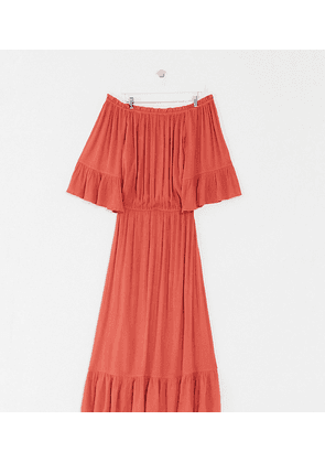 ASOS DESIGN Curve off shoulder maxi dress in texture dobby in rust-Red
