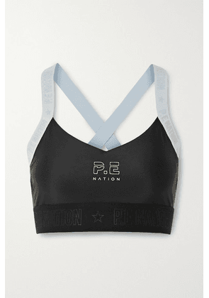 P.E NATION - Bar Down Printed Stretch Sports Bra - Black