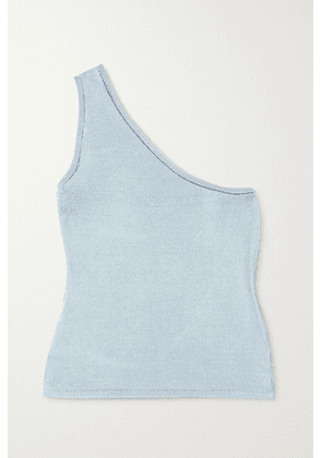 Calle Del Mar - Cropped One-shoulder Stretch-knit Top - Blue