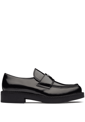Prada logo plaque chunky heel loafers - Black