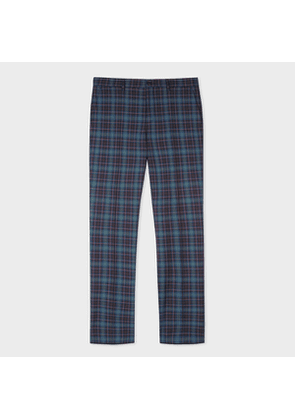 Men's Mid-Fit Navy And Pink Check Wool Trousers