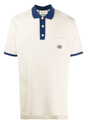 Gucci logo-embroidered polo shirt - NEUTRALS