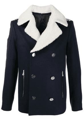 Balmain double-breasted shearling collar jacket - Blue