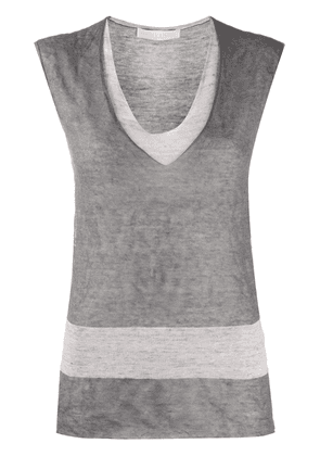 Fabiana Filippi short-sleeve fine-knit T-shirt - Grey