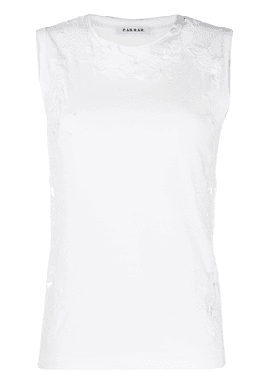 P.A.R.O.S.H. lace embroidery tank top - White