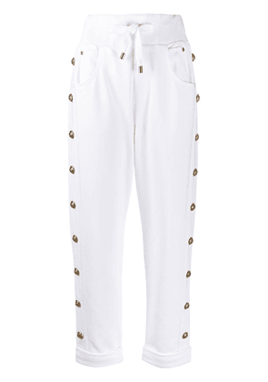 Balmain embossed-buttons drawstring trousers - White
