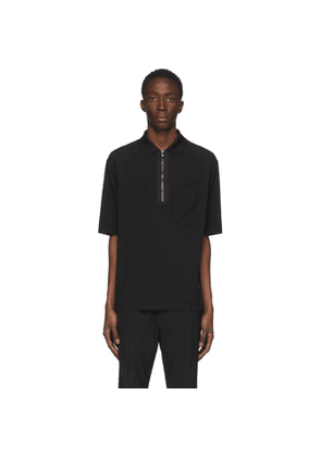 Solid Homme Black Zip Polo
