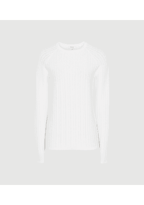 Reiss Iona - Open Knit Crew Neck Top in White, Womens, Size M