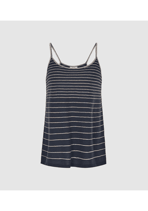 Reiss Maddy - Metallic Striped Knit Cami Top in Navy, Womens, Size M