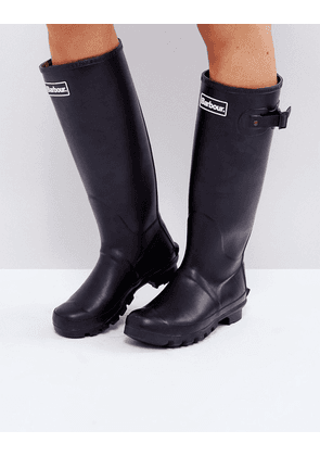 Barbour Bede classic welly boot with tartan lining-Black